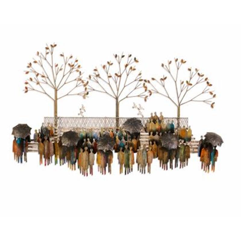 Decoratie stuk met mensen en bomen in park